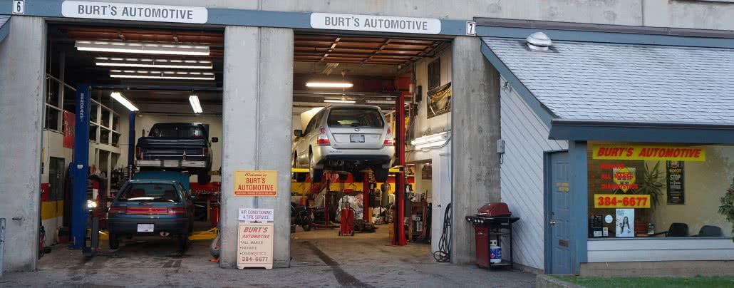 Front of Burt's Automotive mechanic shop